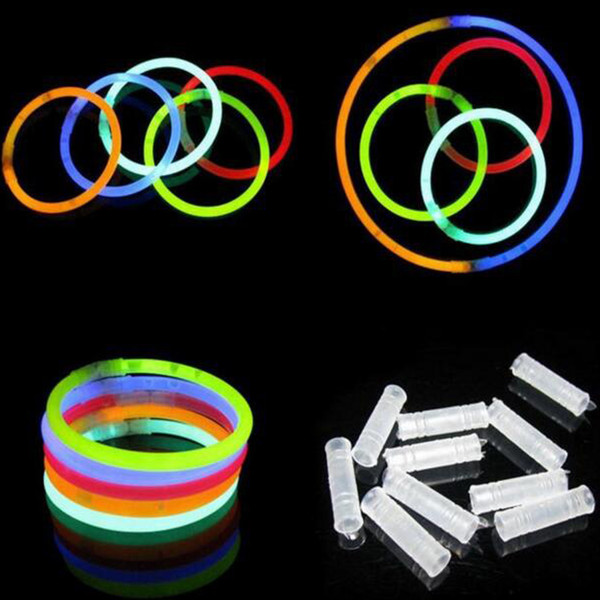 top popular Multi Color Hot Glow Stick Bracelet Necklaces Neon Party LED Flashing Light Stick Wand Novelty Toy LED Vocal Concert LED Flash Sticks 300pcs 2019