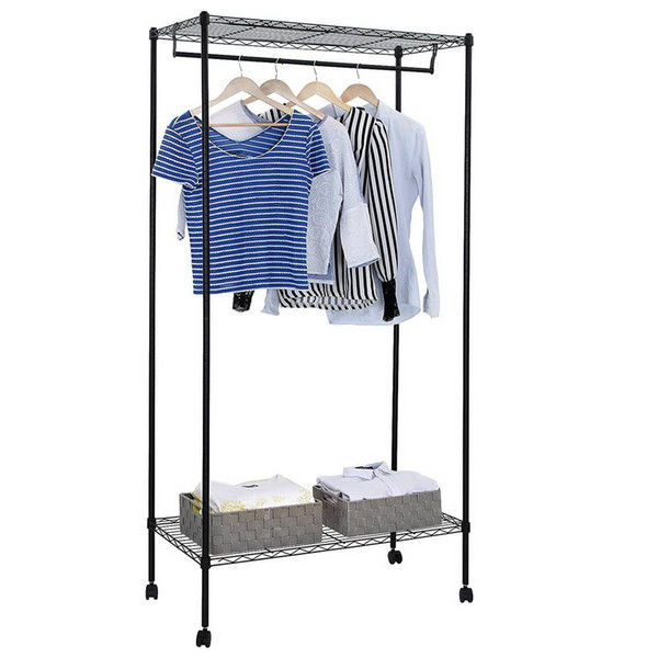 Double Layer Powder Coating Carbon Steel Garment Rack Hanger Black