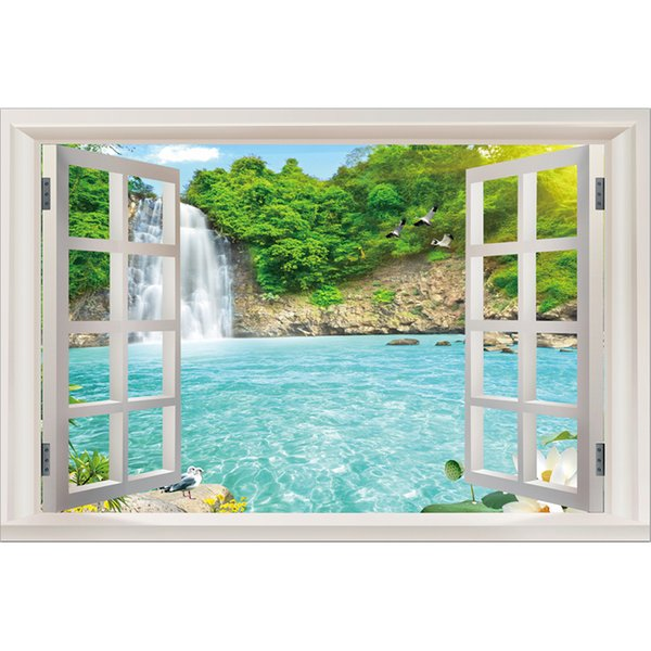 Kexinzu Full Square Diamond Scenery outside the window water 5D DIY Diamond Painting Embroidery Cross Stitch Rhinestone Mosaic Decor