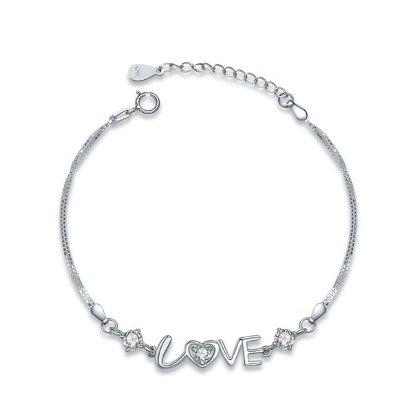D043 hot jewelry 925 sterling silver handmade bracelet love alphabet charm bracelet gift for valentine's day China low prices wholesale