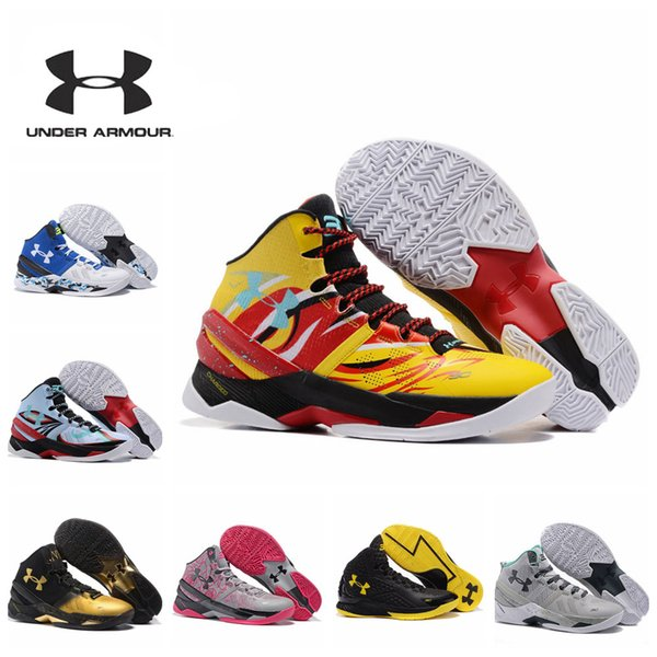 the latest 50df4 ae61b Cheap Under Armour Stephen Curry 2 Basketball Shoes Mens Ua Curry 2 Gold  Championship Mvp Finals Sports Training Sneakers Run Shoes Sneakers On Sale  ...