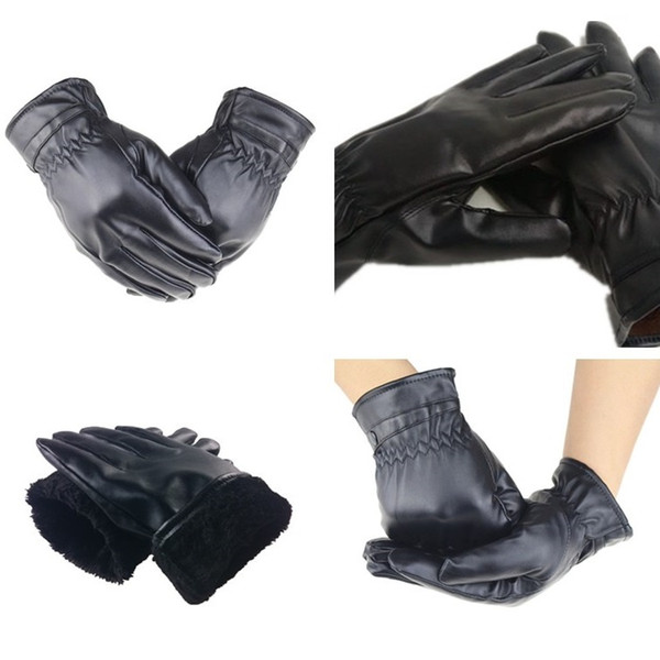 2 styles Factory direct imitation leather gloves PU men ladies hair ball winter gloves windproof cold thick warm riding gloves T6C0102