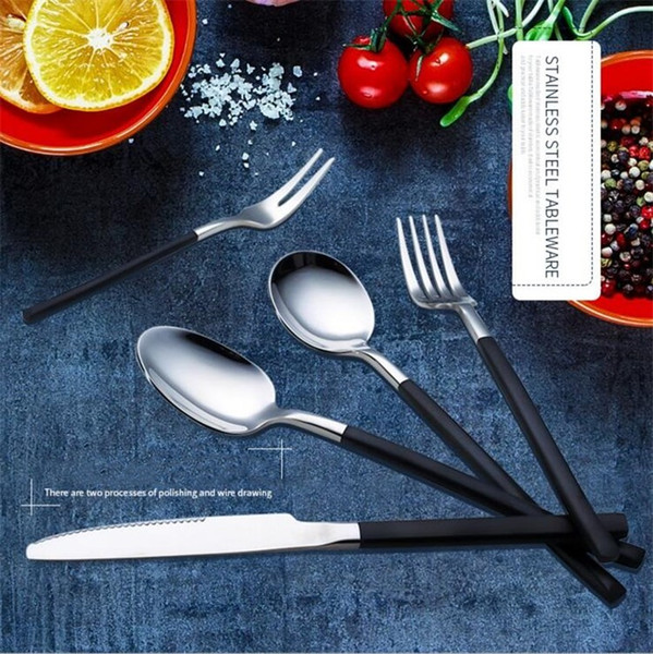 New China V Shaped Stainless Steel Gold And Silver Flatware Knives Western Food Dinnerware Fork & Knife &Spoon Tableware With Handle IB461