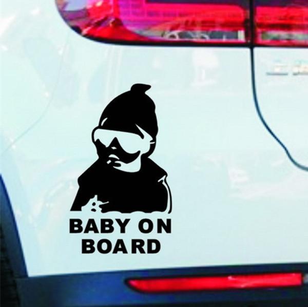 14 * 9 CM BABY AN BORD Kühle hintere reflektierende Sonnenbrille Kind Auto Aufkleber Warnung Abziehbilder Schwarz / Silber CT-465