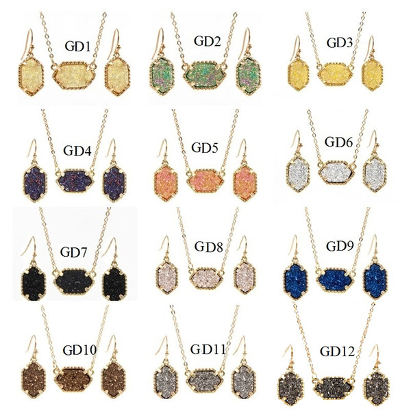 top popular Drusy Druzy Necklace Drop Stud Earrings Jewelry Set Gold Silver Plated Glitter Druzy Choker for Women 2021