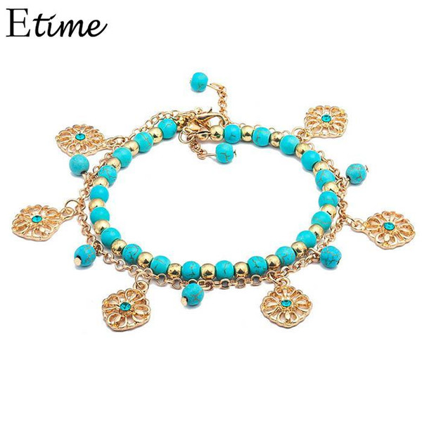 Bohemian Casual Women  Flowers Pendant Lobster Claw Clasp Bracelet Set