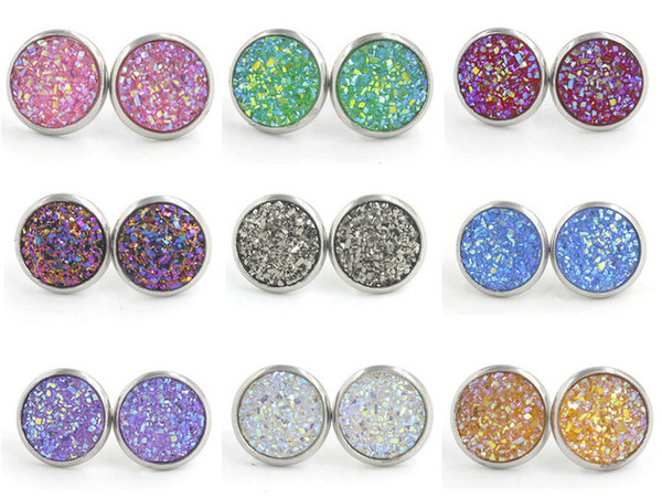 top popular 12mm Resin Druzy Crystals Gem Silver Color Stud Earrings New Stainless Steel Jewelry for Women Girl Brithday 2019
