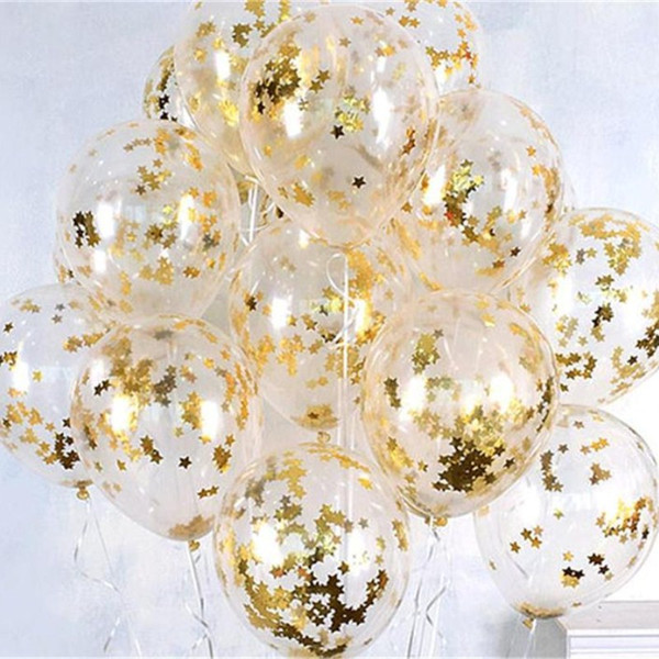 top popular 12inch Clear Rose Gold Round Star Foil Confetti Latex Balloons Wedding Birthday Christmas Sownflake Confetti Helium Balls Decor Gifts 2020