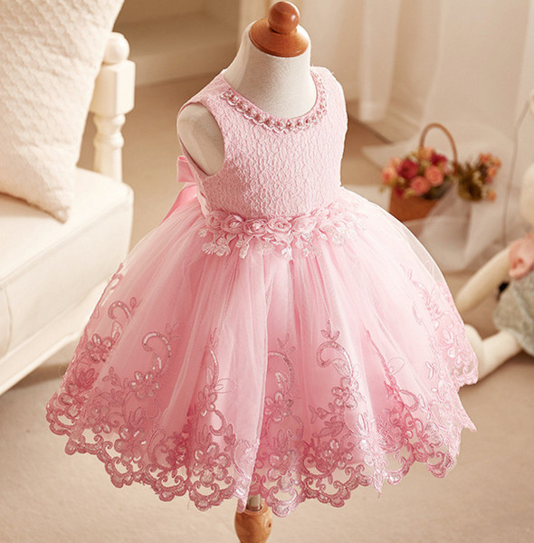 Flower Girl Dresses Pink Princess Gown For Wedding Party Prima Comunione Dress 2018 New Fashion Little Girl Abito formale