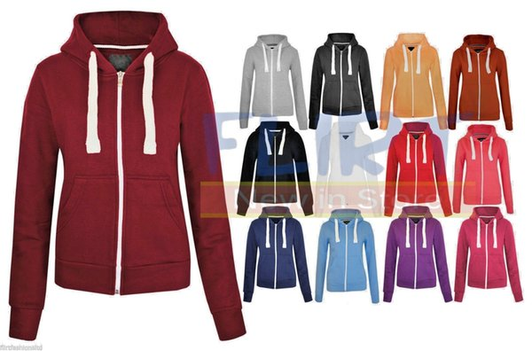WOMENS PLAIN HOODIE LADIES HOODED ZIP ZIPPER TOP SWEAT SHIRT JACKET COAT SWEATER Women's Clothing