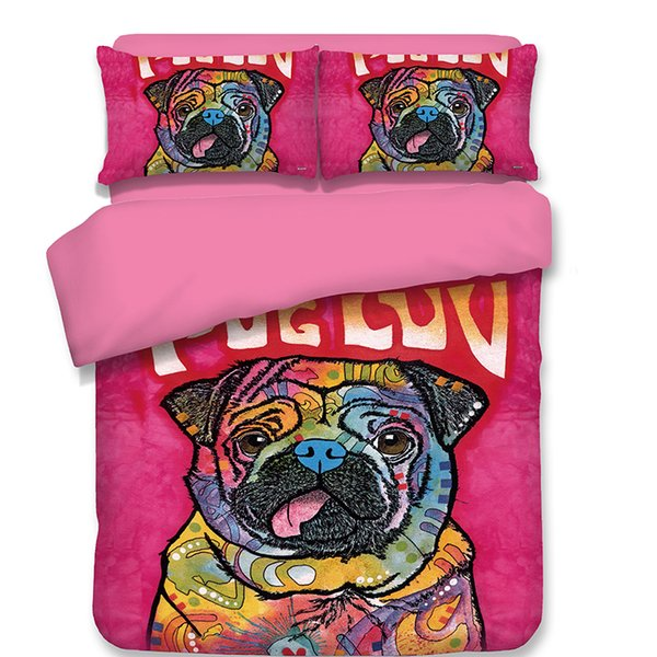 Free shipping kids children cartoon pink pug dog for single twin full queen size 3/4pcs bedding set no filler home textile