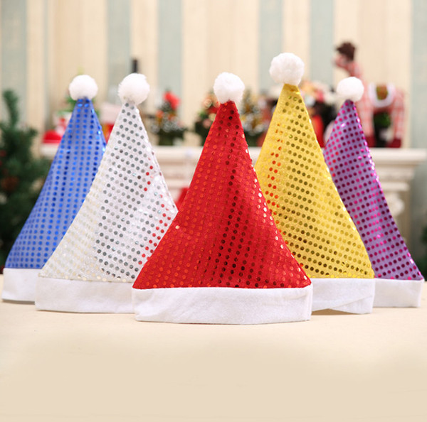 Santa ClauseCapSequin FabricRed Funny Stamped Party Flashing DecorationFelt Cloth Gold Paillette Christmas Hat for Gift