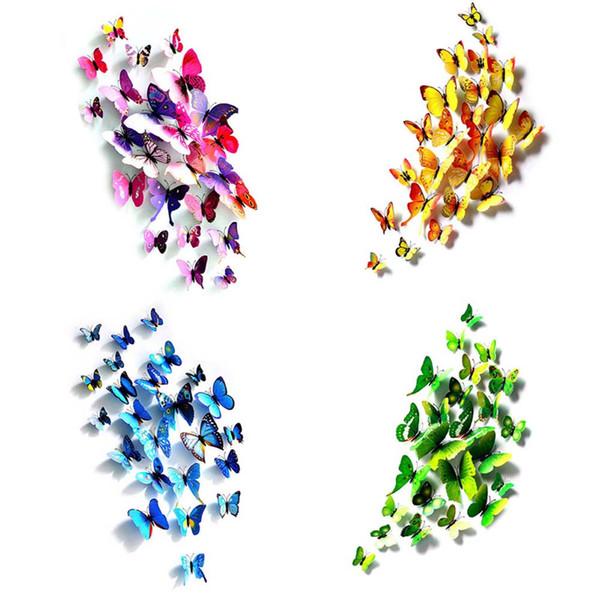 12 Pçs / set Simulação 3D Borboletas Adesivos de Parede Mix Tamanhos Quarto Crianças Art Decalque Decoração Para Porta Janela Geladeira