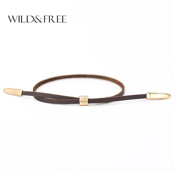 Wholesale- Women Fashion Leather Bracelets Jewelry Vintage Antique Gold Alloy Ends Double Layer Summer Charm Bracelets & Bangles For Girl