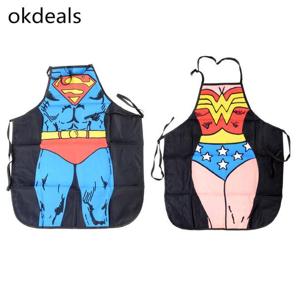 Women Men Waterproof Kitchen Bib Aprons Comic Superhero Costume Apron Funny Gift