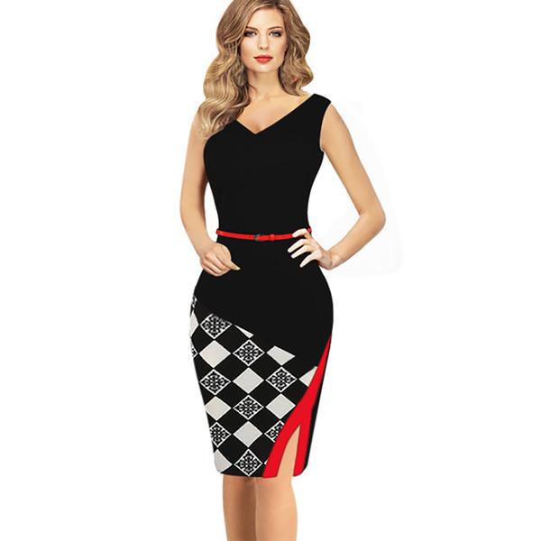 Womens Elegant Plaid Slim Tunic Party Evening Side Slit Dress Sheath Pencil Bodycon Dress 2017 Blue Work Office Dress