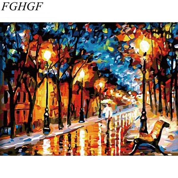 FGHGF Unframed Walk In Rain DIY Digital Painting By Number Drawing Color Painting Unique Gift For Home Art Decor