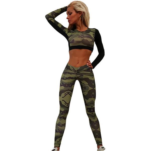 fcdd0c90780 Летний спортивный костюм Женщины спортивный костюм камуфляж короткие топы  рубашка + длинные брюки костюм набор Женские