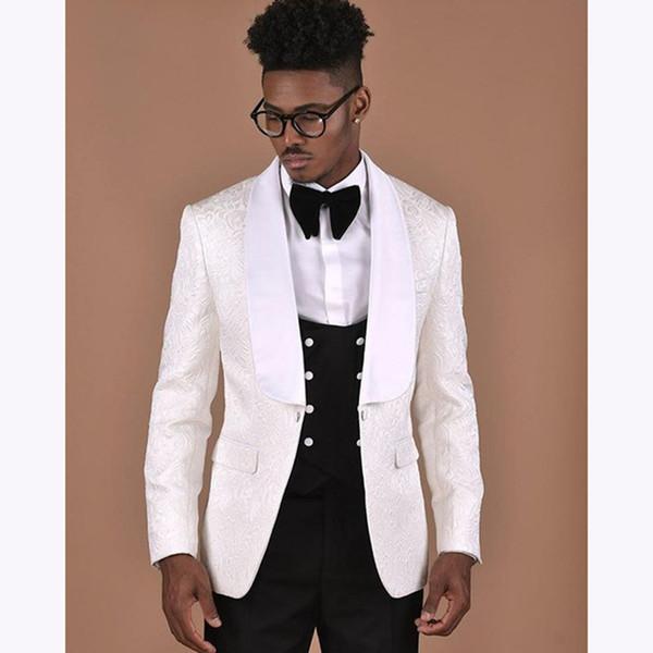 2018 New Custom Made men suits for wedding Groomsmen Prom Dress Groom Man Suit Slim Fit White Flower Blazer mens Wedding Tuxedo