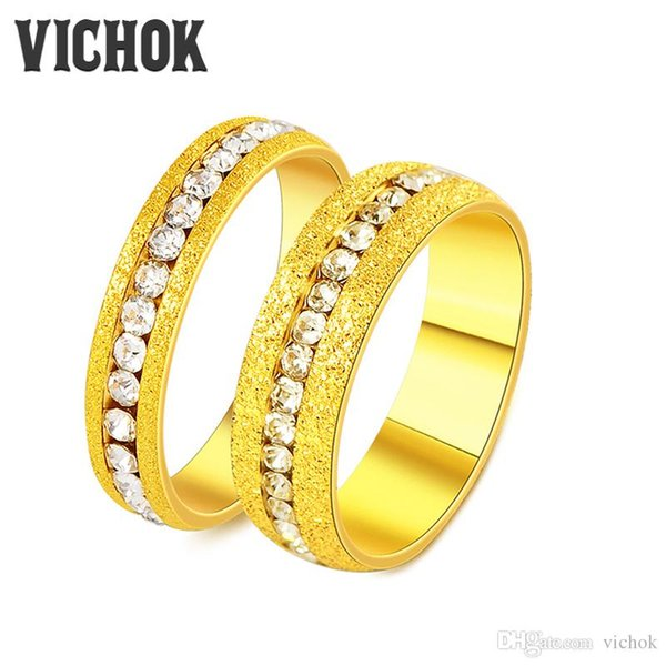 316L Edelstahl Paar Ringe Einfache Kanal Einstellung Ringe Für Frauen Männer Liebhaber Hochzeit Perfekte Geschenk Ringe Edlen Schmuck Band VICHOK