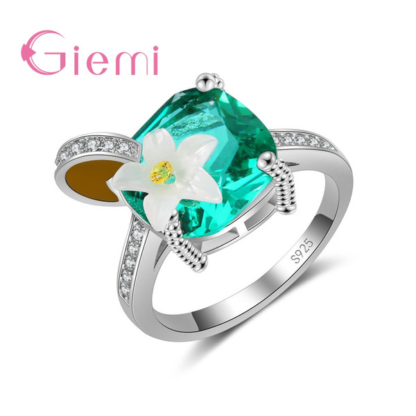 GIEMI Noble Fingers Jewelry for Ladies 925 Sterling Silver Rings Big Sun Flower Shape Made With Cubic Zirconia Brand Bijoux