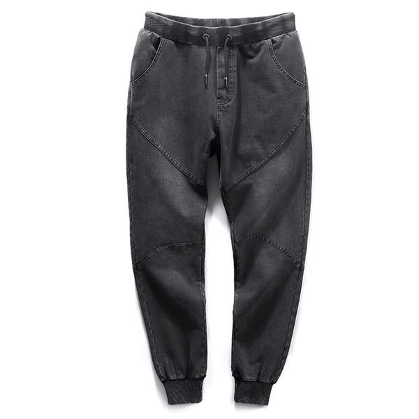wholesale Brand 2018 Fashion Black Men's Harem Jeans Stretch Cotton Casual Loose Jeans Men Denim Jogger Pants Big Size 6XL 7XL 8XL