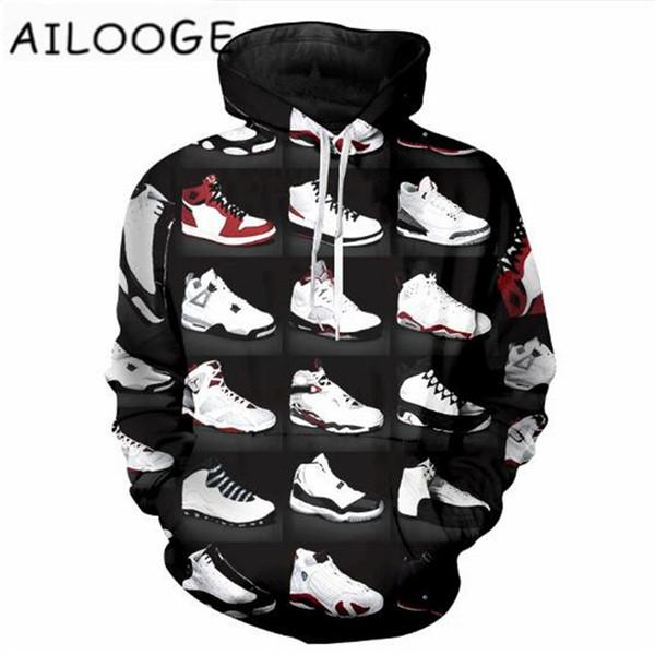 2018 New Fashion Hoodies Men Women Sweatshirts 23 Classic Shoes 3D Print Unisex Streetwear Tracksuits