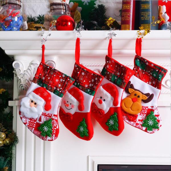 Family Christmas Stockings.New Style Snowflake Christmas Socks Santa Claus Snowman Elk Bear Christmas Stockings Kids Candy Apple Gift Bags Family Christmas Ornaments Festive