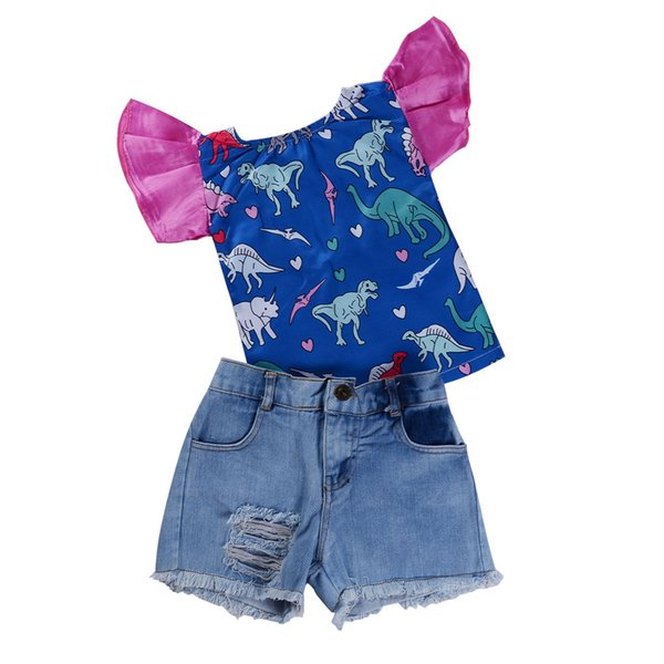 2018 Cute Newborn Baby Girls Clothes Dinosaur T-shirt+Ripped Jeans 2PCS Outfits Set Summer Fashion Kid Clothing Toddler Girls Clothes 6M-5T