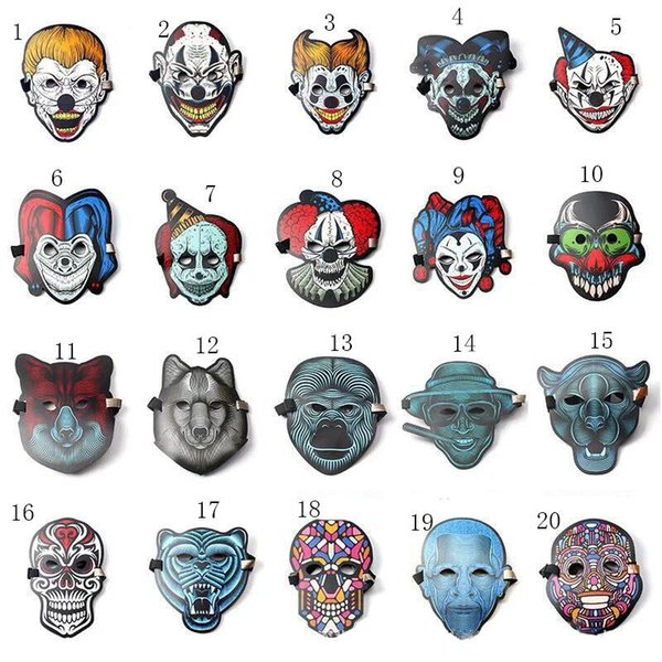 20 colors Halloween Cosplay EL Mask Led Sound Control Creative Cold Light Masquerade Portable Flexible With Many Style Masks MMA532 50pcs