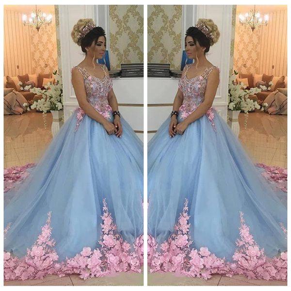 2018 Güzel Bebek Mavi 3D Çiçek Aplikler Maskeli Şapel Tren Çiçekler Quinceanera Elbiseler Balo Abiye Sweety Kızlar 16 Yıl Elbise