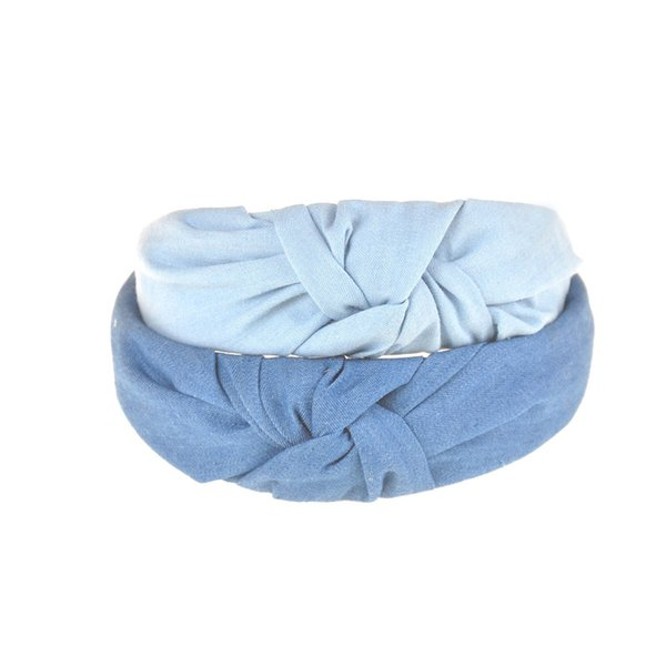 Top Sale Lovely Women Hairbands Denim Fabric Bow Knotted Headbands For Girls Kids Boutique Headwear Hair Accessories