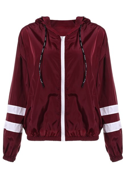 ZAN.STYLE Spring Women Contrast Ribbons Trim Zip Up Hooded Jacket Striped Patched Sleeve Girl Coat Outwear Jacket With Pocket S18101205