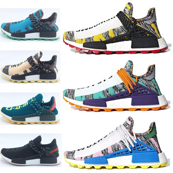 2018 Human Race Pharrell Williams Running Shoes Creme x NERD Solar Pack Holi NM MC D Men Women Pharell Runner Racer Athletic Sneaker