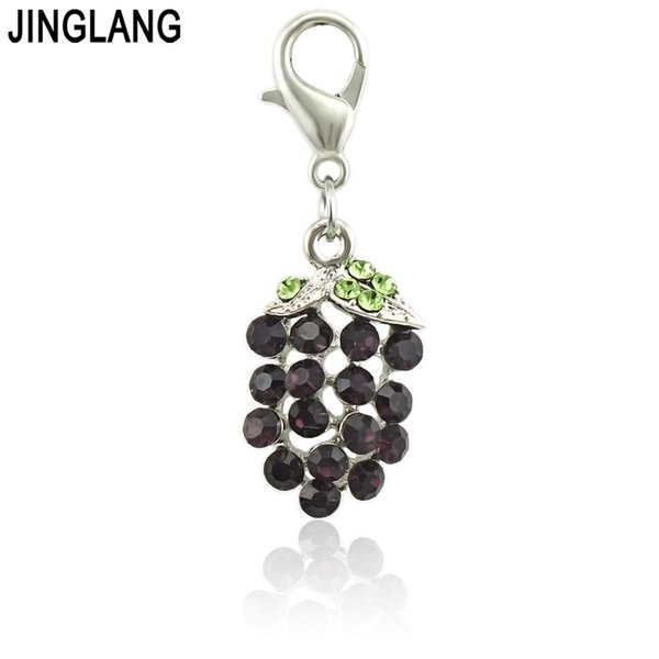 JINGLANG Fashion enamel charm Grapes metal charms for jewelry making Pendants charms Key Chains as Jewelry Accessories