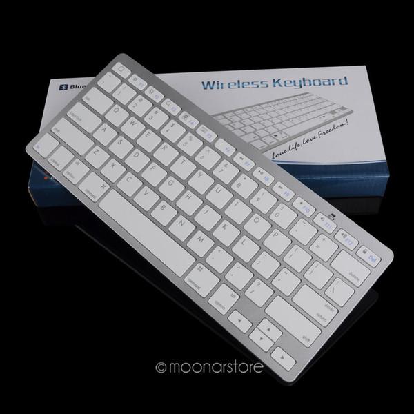 Portátil durável prata ultra fino design bluetooth 3.0 teclado sem fio para ipad para mac book / computador pc