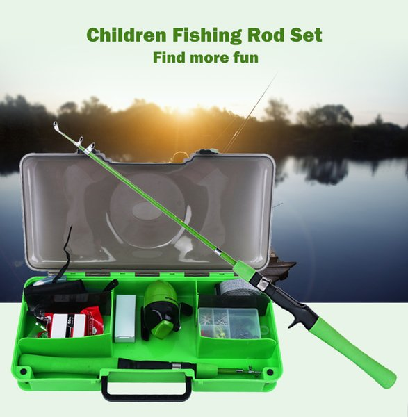 Kids Fishing Rod Reel Combo Kit line lure hook cutter angeln set Children Retractable Fish Pole Casting Reel Bag Set Tackle Tool Pesca gift