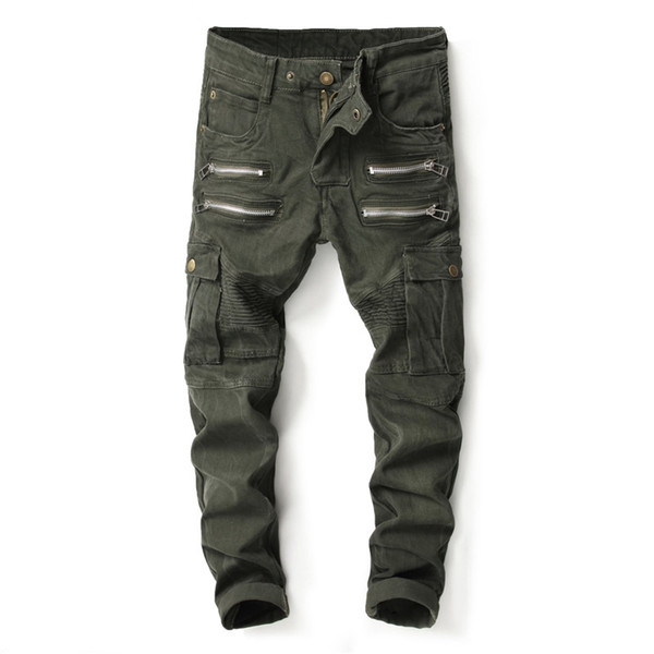 New Fashion High Street Punk Jeans Men Big Pocket Cargo Pants Army Green  Trousers Multi Zippers Brand Biker Jeans Homme
