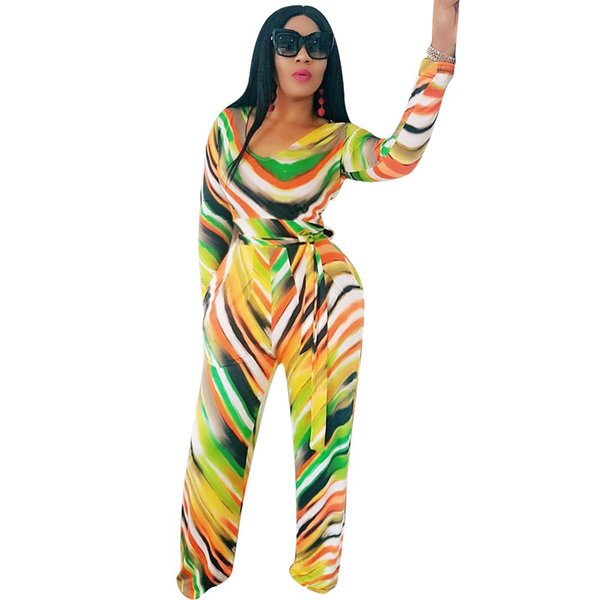 Gradient Color Tie Dye Printed Rompers Womens Jumpsuit Casual Sexy One Piece Long Sleeve Wild Leg Pants Playsuit Autumn Overalls