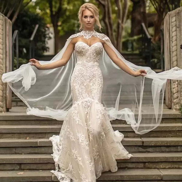 Customized White/Ivory Tulle Bridal Wraps High Neck Lace Appliques Beads Wedding Accessories Bridal Summer Shawl