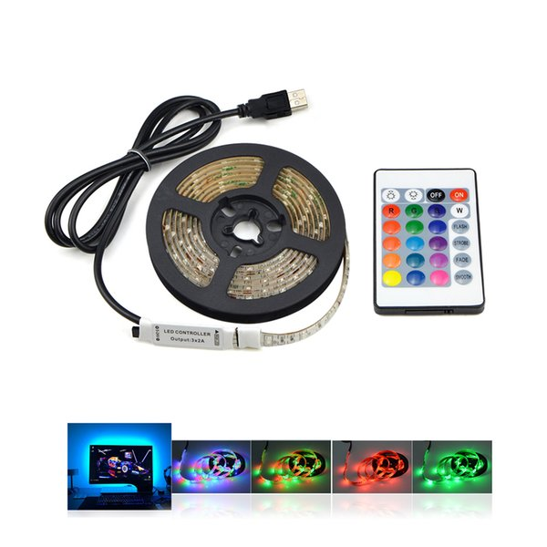 DC 5V USB Cable RGB LED Strip Light Warm White Diode Tape 3528 SMD 1M 2M 3M 4M 5M RGB Remote Control For Desktop Backlight Lamp