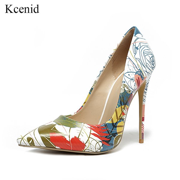 wholesale 2019 New arrival sexy high heels woman wedding shoes fashion hand painting white women shoes colorful party women pumps