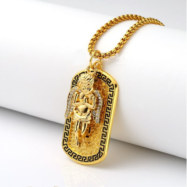 Fashion Street Dance Angel Medal Pendant Necklaces 75cm Long Chains Rock Micro Hip Hop Jewelry Dog Tag Necklace For Mens Women
