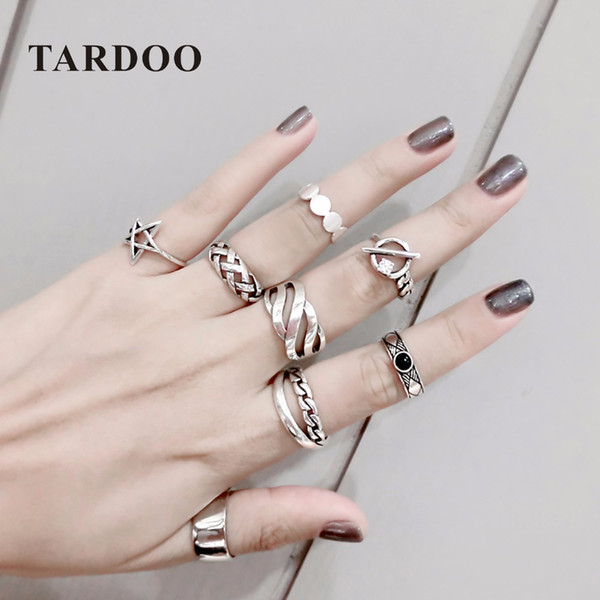 TARDOO Mix Match Genuine 925 Sterling Silver Adjustable Cuff Ring Sets Punk and Trendy Fine Jewelry for Women Y1892606