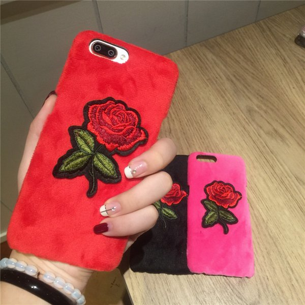 luxury embroidery rose phone case for iphone goophone x i8 6 7 plus case flannel pc red flower case for goophone iphone 6