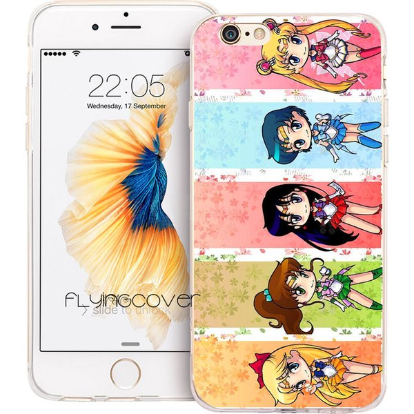 Sailor Moon Crystal Clear Soft TPU Silicone Phone Cover for iPhone X 7 8 Plus 5S 5 SE 6 6S Plus 5C 4S 4 iPod Touch 6 5 Cases.
