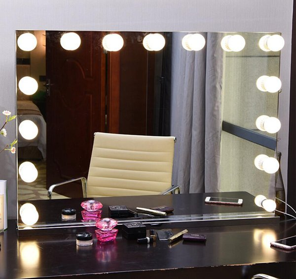 frameless vanity mirror with light hollywood makeup lighted mirror 3 color light cosmetic adjustable touch screen