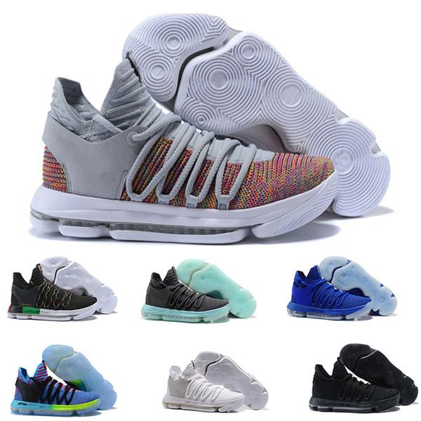 Neue Herren Kevin Durant 10 X Konfetti Mehrfarbig Begrenzte Basketballschuhe KD Tante Pearl Rainbow Colorway China Town Sport Sneakers GRÖßE 7-12