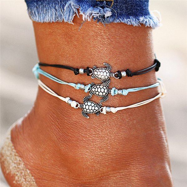 Vintage Multiple Layers Anklet Bohemian Retro Turtle Rope Ankle Bracelet Women Barefoot Sandals Beach Animal Foot Jewelry