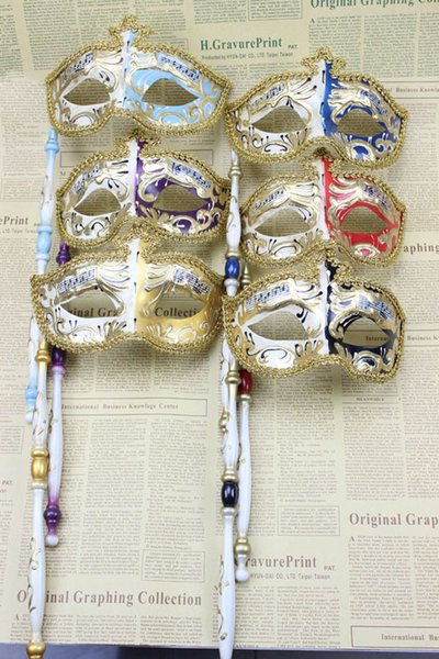 (6 pieces/lot) New Venetian masquerade ball mask on a stick Men and women's hand-held masks Party favors Dress up